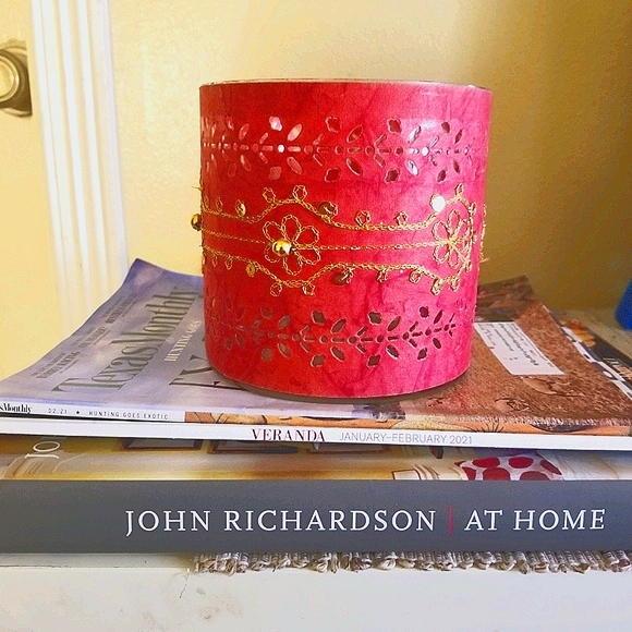 Red paper & glass hurricane/candle holder